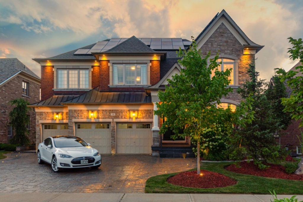 Home with Tesla Exterior Twilight